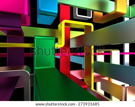 3d endless colorful metal labyrinth with black background - stock photo