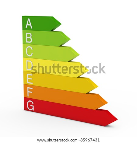 3d energy bar efficiency red to green - stock photo