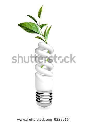 3d energy saving ecologic lamp on the white background - stock photo