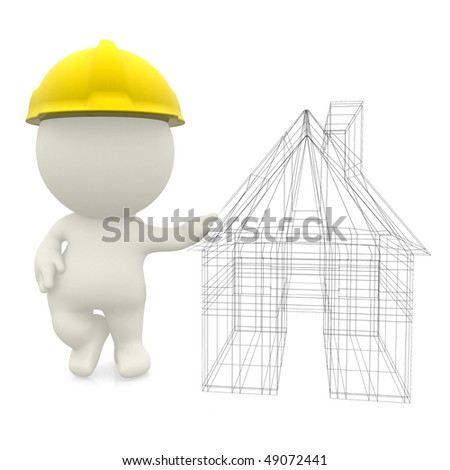 3D engineer with a house sketch isolated over a white background