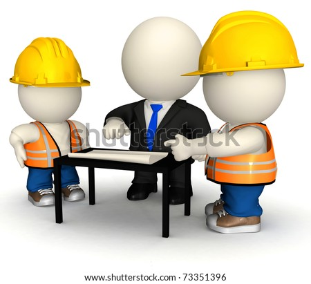 3D engineer with construction workers- isolated over a white background - stock photo