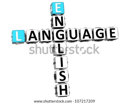 3D English Language Crossword on white background - stock photo