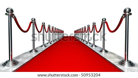 3D entrance with a red carpet and silver poles - stock photo