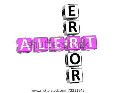 3D Error Alert Crossword on white background - stock photo