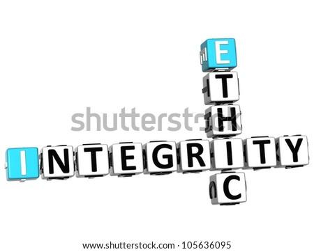 3D Ethic Integrity Crossword on white background - stock photo