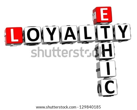 3D Ethic Loyalty Crossword on white background - stock photo