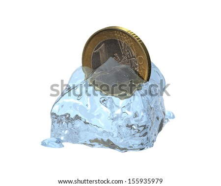 3d euro coin in a melted ice cube - stock photo