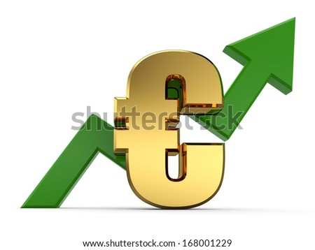3D Euro rising graph. 3D arrow diagram moving up over euro - stock photo