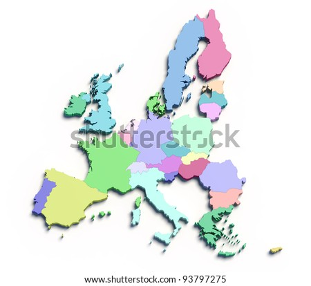 3d european union color map on white - stock photo