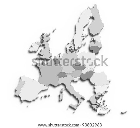 3d european union map on white isolated