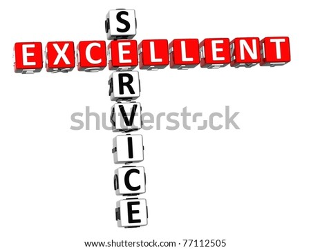 3D Excellent Service Crossword on white background