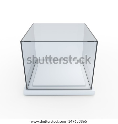 3d exhibit box Empty glass and base showcase in isolated background with clipping paths, work paths included  - stock photo