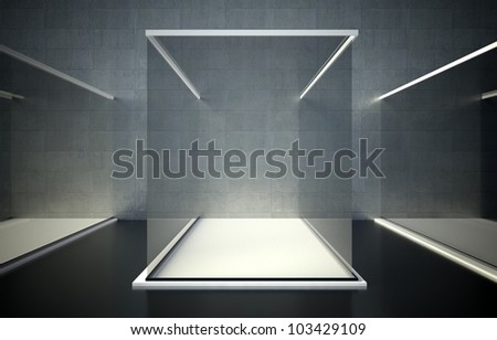 3d exhibition space, Empty glass showcase - stock photo