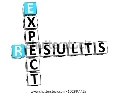 3D Expect Results Crossword on white background