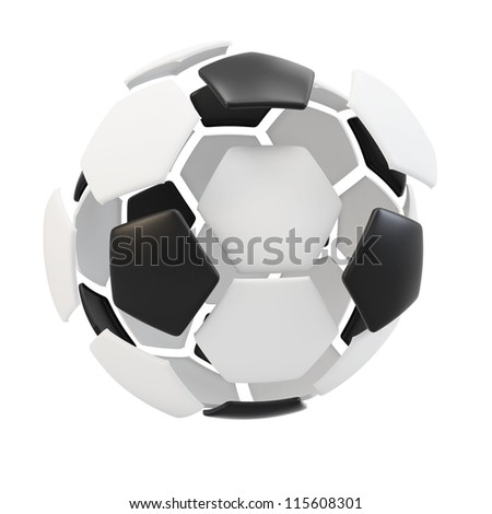 3d exploded soccer ball on a white background - stock photo