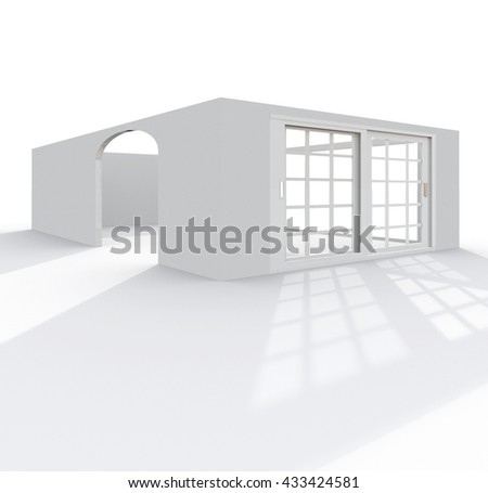 3d exterior rendering perspective view of empty cube home apartment: room, bathroom, bedroom, kitchen, living-room, hall, entrance, door, window