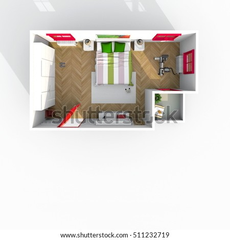 3d exterior rendering plan view of furnished bedroom