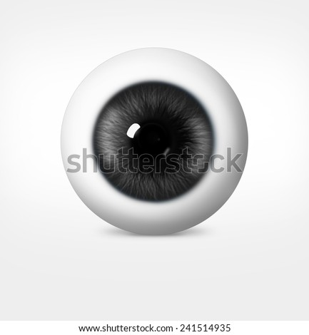 3d eye of man on white background. eyeball with pupil gray shade - stock photo