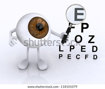 3d eye with arms and legs showing with a magnifying glass the letters of the table optometric - stock photo
