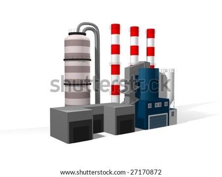 3D Factory, plant - stock photo