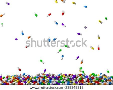 3d falling random colored pills rain. (filling screen) - stock photo