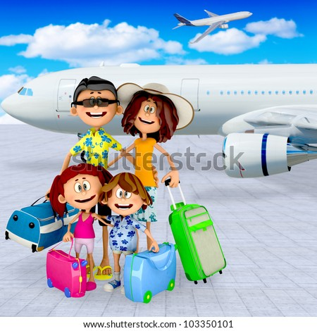 3D family at the airport going on vacations - stock photo