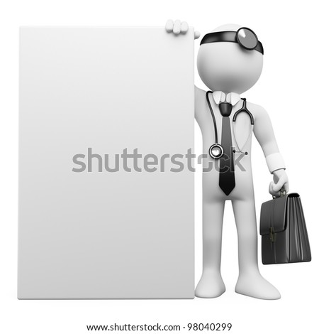 3D family doctor with a blank poster. Rendered at high resolution on a white background with diffuse shadows. - stock photo