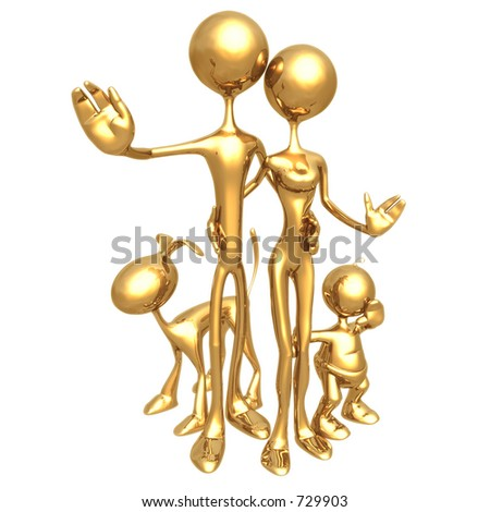 3D Family in a Portrait Pose - stock photo