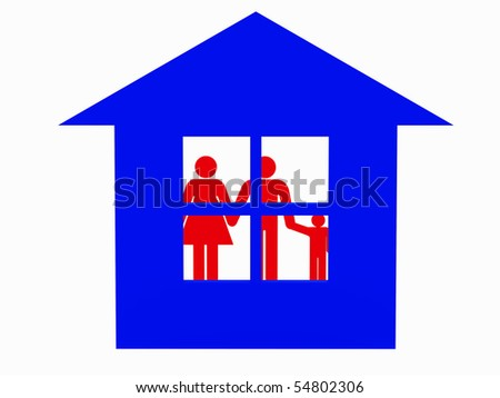 3d family isolated on white and house. - stock photo