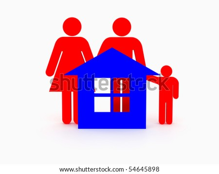 3d family isolated on white and house. High resolution image. - stock photo