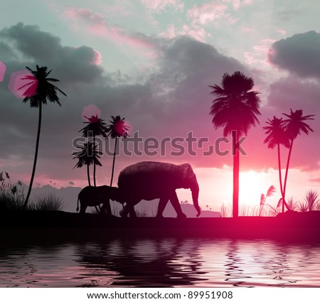 3d family of elephants going at sunset among the palms