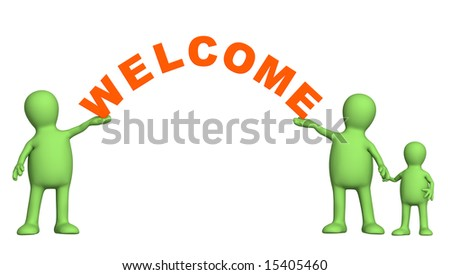 3d family with a word welcome. Object over white - stock photo