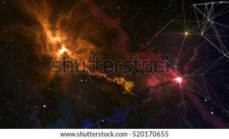 3D fantastic colorful nebula galaxies in deep space with stars and plexus formations. 3D rendering.