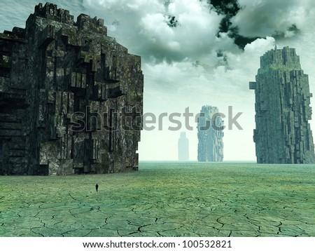 3d Fantasy landscape - stock photo