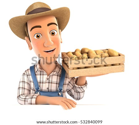 3d farmer holding wooden crate of potatoes, illustration with isolated white background