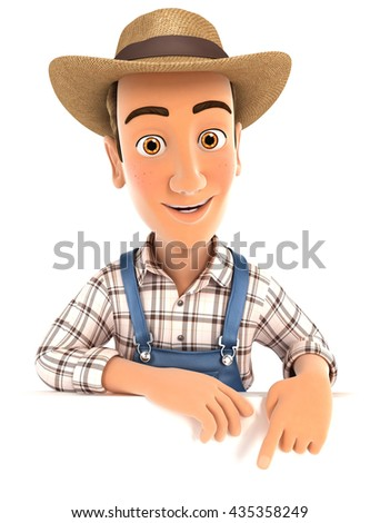 3d farmer pointing to empty wall, illustration with isolated white background