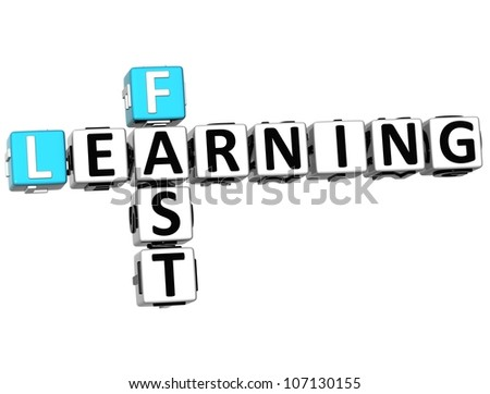 3D Fast Learning Crossword on white background