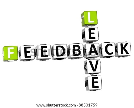 3D Feedback Leave Crossword on white background - stock photo