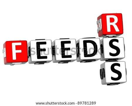 3D Feeds Rss Crossword on white background - stock photo
