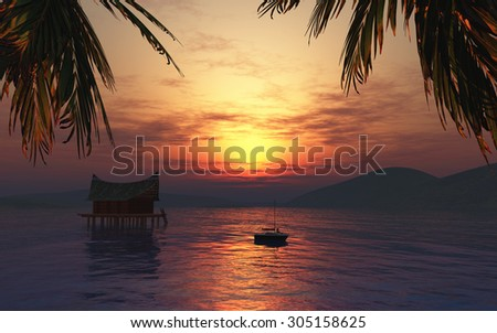 3D female figure sunbathing on a boat in a tropical landscape at sunset