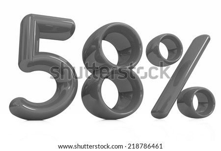 """3d """"58"""" - fifty eight percent on a white background - stock photo"""