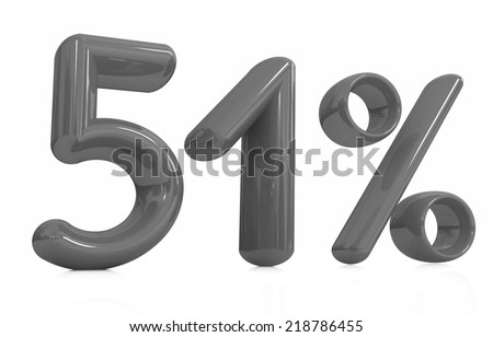 """3d """"51"""" - fifty one percent on a white background - stock photo"""