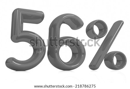 """3d """"56"""" - fifty six percent on a white background - stock photo"""