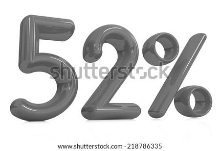 """3d """"52"""" - fifty two percent on a white background - stock photo"""