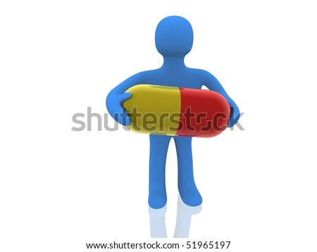 3d figure, carrying the big pill