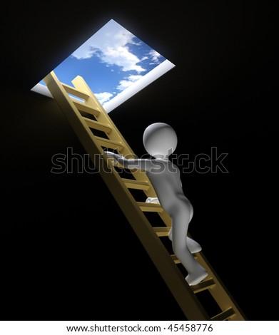 3D Figure Climbs Ladder to Sky - stock photo