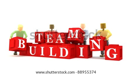 3D figures engaging in a team building exercise against a white background - stock photo