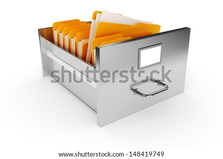3d file cabinet on white background - stock photo
