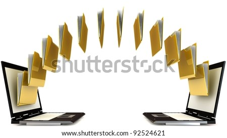 3d file sharing concept - stock photo