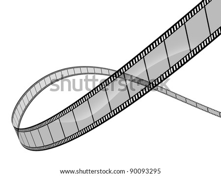 3d film on white background representing cinema and movie directing as a the film industry symbol with a spiral curved roll of film floating in dimensional space showing the concept of visual media.
